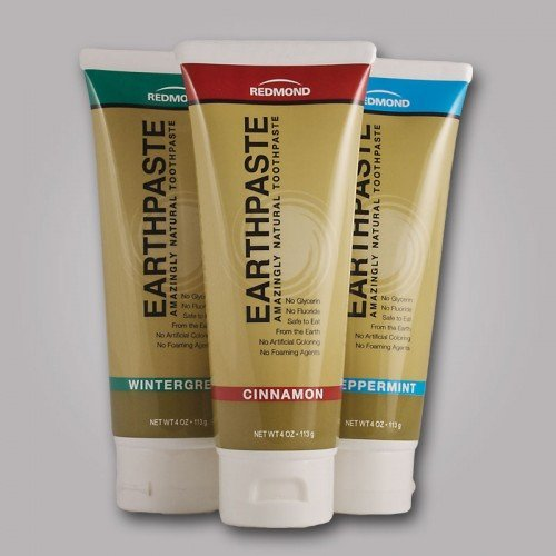 Image of Earthpaste - 3 Pack - Assorted Flavors - Peppermint - Wintergreen - Cinnamon - Natural Organic Flouride Free Toothpaste - 4 Ounce Tubes (Tri Flavor)