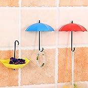 Uname 3Pcs/Set Umbrella Shape Wall Hook Rack, Hanger, Key Hooks, Bathroom Stickers. Mounted Sticky. Small Storage...