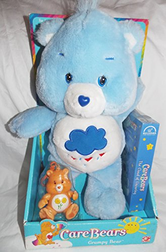 "2002 Care Bears 12"" Plush Grumpy Bear With Friend Bear Attacheable And Vhs Video Tape front-979633"