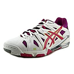 ASICS Women\'s Gel Sensei 5 Volley Ball Shoe,White/Magenta/Silver,6 M US