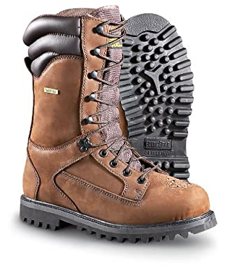 """Men's Guide Gear 11"""" 1400 gram Thinsulate Ultra Insulation Waterproof Venatic Leather Boots Brown, BROWN, 12M"""