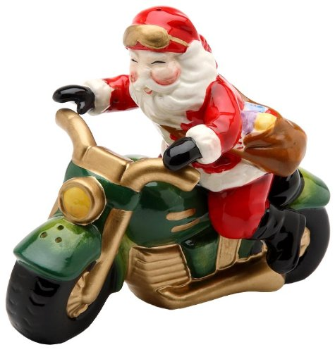 Cosmos Santa Motorcycle Salt and Pepper Set, 2.6-Inch Tall