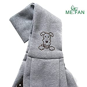 ME.FAN™ Reversible Small Dog Cat Sling Carrier Bag - Hands-free Travel Double-sided Pouch Shoulder Carry Tote Puppy Kitty Rabbit - Soft Comfortable Breathable Cotton Pet Outdoor Handbag - Grey