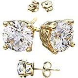14 Karat Gold Overlay on 925 Sterling Silver Earrings. Top Quality CZ Round Stones From .50 Carat to 10.00 Carat Total Weight