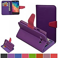 LG Optimus L60 Case,Mama Mouth [Stand View] Folio Flip Premium PU Leather [Wallet Case] With Built-in Media Stand ID Credit Card / Cash Slots and Inner Pocket Cover For LG Optimus L60 X145/Dual X147, Purple