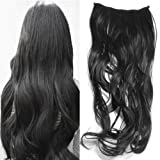 Gorgeous Long Curly Clip-on Hair Extension Wigs - Black