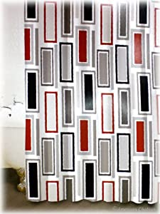 New Red BLACK & GRAY WHITE Rectangles FABRIC Retro Bathroom Bath Shower Curtain