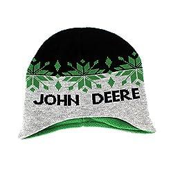 John Deere Toddler Youth Beanie Knit Hat (One Size Youth, Black/Grey John Deere)