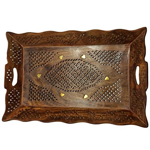 Wood Handmade 15 X 10 Inch Tray - Wooden Serving Tray with Brass Etchings Unique Design
