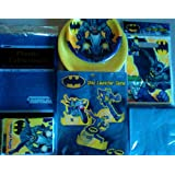 Batman Birthday Party Package Super Celebration Kit ~ DC Comics The Dark Knight Theme ~ Invitations, Table Cover, Dinner Plates, Dessert Plates, Napkins, Disc Launcher Game, Treat Sacks, & Thank You Cards ~ Serves 8