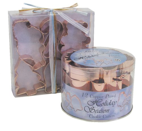 R & M Holiday Classics 12 Piece Cookie Cutter Tub Set, Copper
