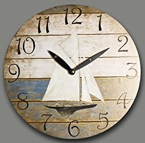 Wall Clock Design Sailing Boat Blue Kitchen Clock Round