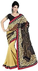 Lizel Fashion Women's Net Saree (508, Beige)