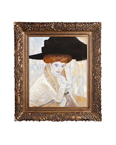 Gustav Klimt's Black Feather Hat Framed Hand Painted Oil On Canvas