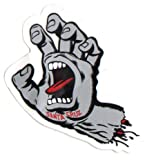Santa Cruz Screaming Hand Skateboard Sticker in Grey - Jim Phillips Design 8cm NEW