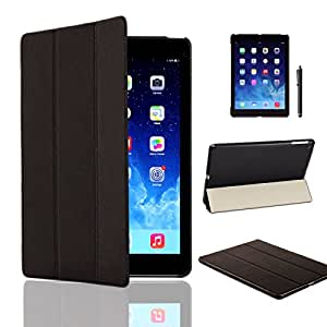 MOFRED Black Ultra Slim Apple iPad Air (Released November 2013) Leather Case Cover, Full Protection Smart Cover for iPad Air iPad 5 5th With Magnetic Auto Wake & Sleep Function + Screen Protector + Stylus Pen