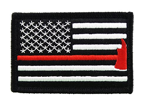 Learn More About Firefighter Axe US Flag Thin Red Line Velcro Morale Patch United States