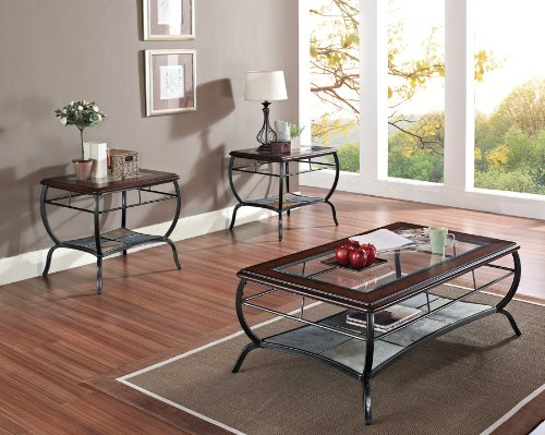 Slate Insert Coffee End Table Set Cherry Finish B00829ZYL6 Coffee