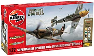 Airfix A50135 Dogfight Doubles Spitfire Mk1A and Messerschmitt Bf109E-4 1:72 Scale Plastic Model Gift Set