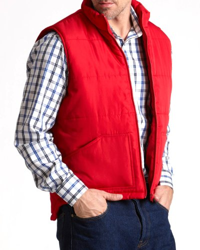 Savile Row Men's Red Quilted Body Warmer Gilet Vest Medium