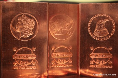 3 All New 2013 Copper Bullion Bars 1 Troy Pound Each