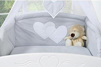 Tour de lit lit b b 120 60 ou 140 70 gris coeurs - Coussin exterieur 120x60 ...