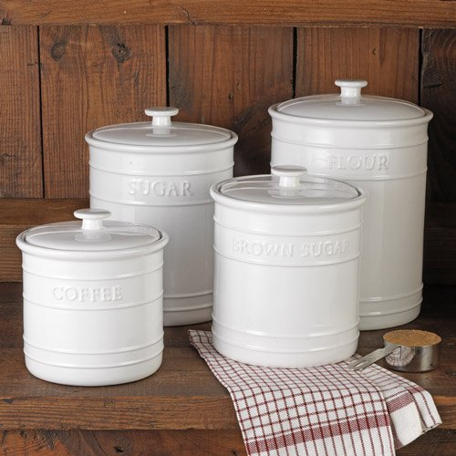 White farmhouse kitchen canisters for Kitchen set name