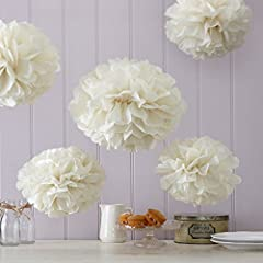 Ginger Ray Ivory Tissue Paper Pom Poms 5 Pack Wedding & Party Decorations - Vintage Lace
