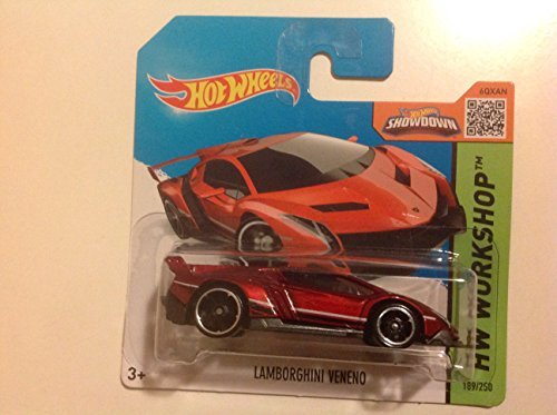 Hot Wheels Short Card HW Workshop Lamborghini Veneno Red #189/250 - 1