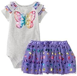 Baby Glam Baby-Girls Newborn 2 Piece Skirt Set with Poly Netting Ruffles, Light Grey Heather/Simply Purple, 6-9 Months