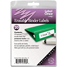 Erasable Binder Labels Refill, 20 labels