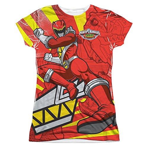 Power Rangers Red Ranger Kick Junior Fit All Over Front T-Shirt