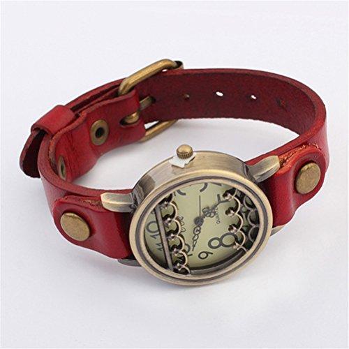 U-Beauty Unisex Men Women Lady Girls Hot Popular National Wind Hollow Bracelet Watches Quartz Wristwatch (Red)