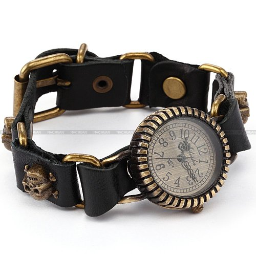 AMPM24 Retro Bronze Lady Women Bracelet Skull Black Leather Band Quartz Wrist Watch
