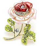 Joyería de Oro Fashion Wang plateado hermoso del Peony Seguridad-broche Rhinrstone con rosa y rojo esmalte esmalte Flor Hoja Verde Ramo Forma extremidades del collar para las mujeres accesorias para los vestidos de BH00089