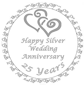 Silver Wedding Anniversary Cake Topper Edible Sugar Icing 75 Decoration Amazoncouk Grocery