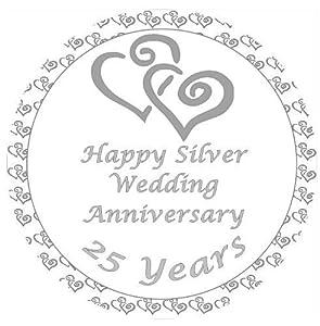silver wedding anniversary cake topper edible sugar icing