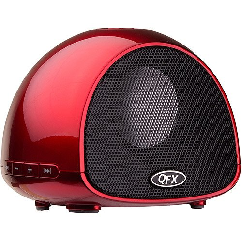 Qfx Bt-100 Portable Bluetooth Speaker With Microphone, Red
