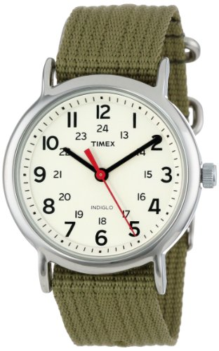 "Timex Unisex T2N651 ""Weekender"" Watch with  Olive Nylon Strap"