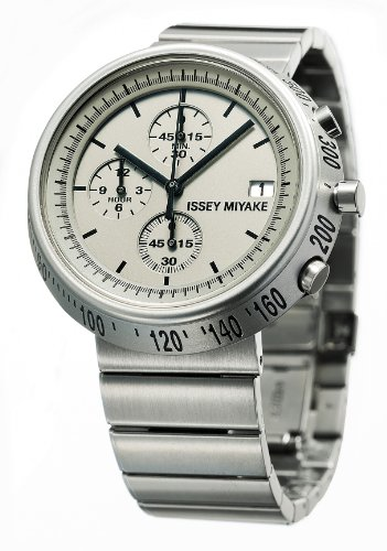 Issey Miyake Trapazoid Unisex Quartz Watch with Silver Dial Chronograph Display and Silver Stainless Steel Strap SILAZ002