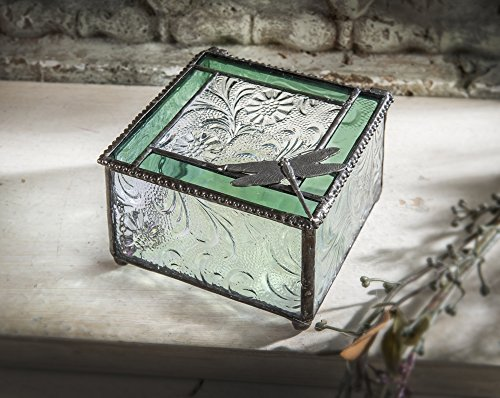 "Decorative Dragonfly Sycamore Square Glass Keepsake/storage/jewelry Box - Great for Trinkets and Memories - Hinged 3.75"" X 3.75"" X 2.5"""
