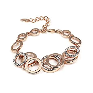 Dazzle Flash 18k Rose Gold Plated Double round and round Link Bracelet,X'mas gift-bgg063