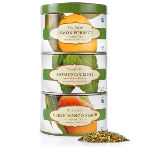 Tea Forte Loose Tea Trio - Green Sampler - Lemon Sorbetti, Moroccan Mint, Green Mango Peach