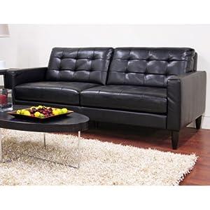 Caledonia Black Leather Modern Sofa