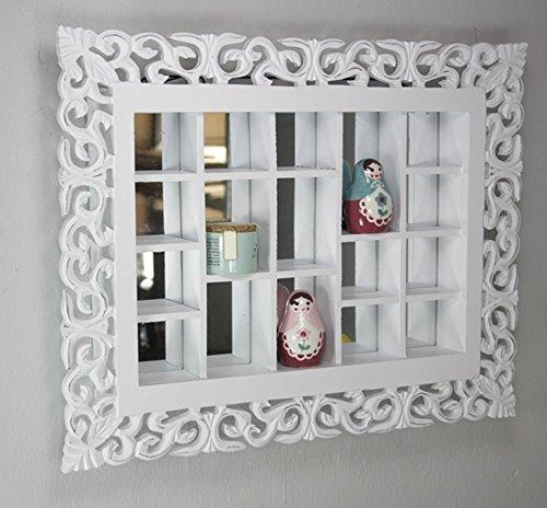 Elbmöbel.de - Specchio da parete in stile rustico anticato con vari scomparti, colore: bianco