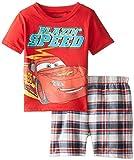 Disney Little Boys' Cars 4-7 Tee and Woven Plaid Short Set