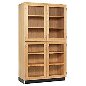 Tall Storage Cabinet With Four Glass Doors