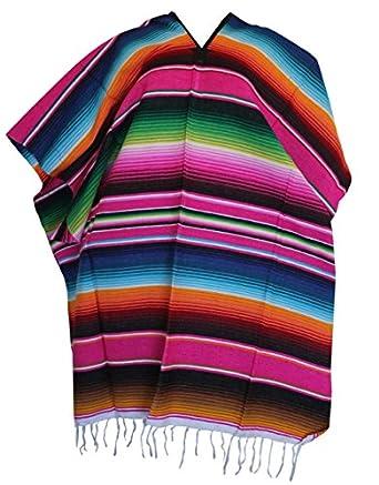 Amazon.com: Del Mex (TM) PINK Mexican Serape Poncho Pancho