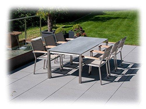 JURA & PONTIAC Gartenmöbel Sitzgruppe A 7-teilig Gartenset Zebra Keramik & Batyline Espresso