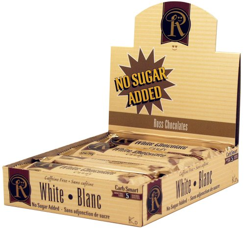 Box of 12 No Sugar Added White Chocolate Bars - Low Carb Chocolate From Ross Chocolates